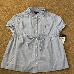 NWT Ralph Lauren Girl's blue Striped Blouse Top 8
